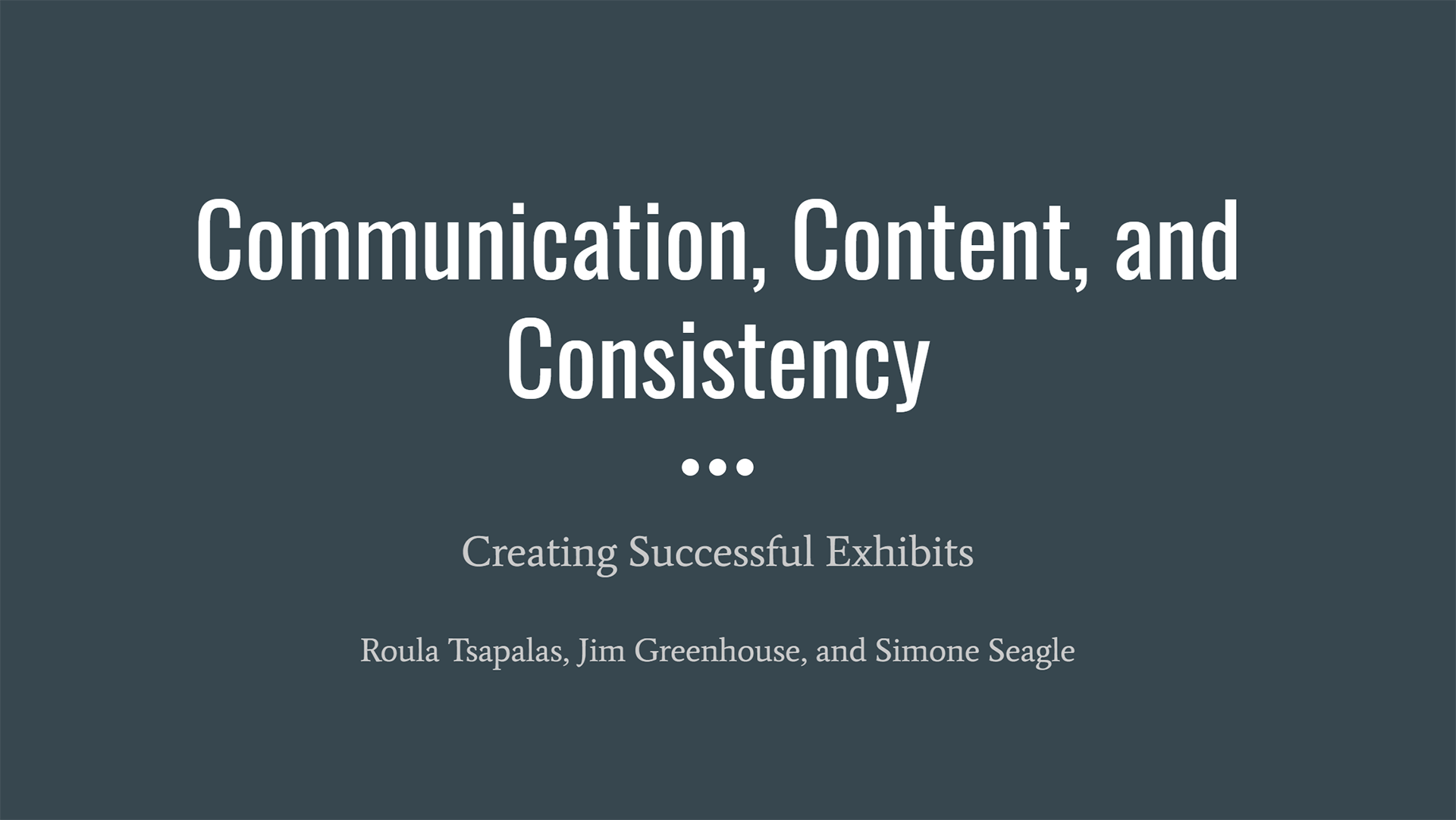 Communication, Content, and Consistency