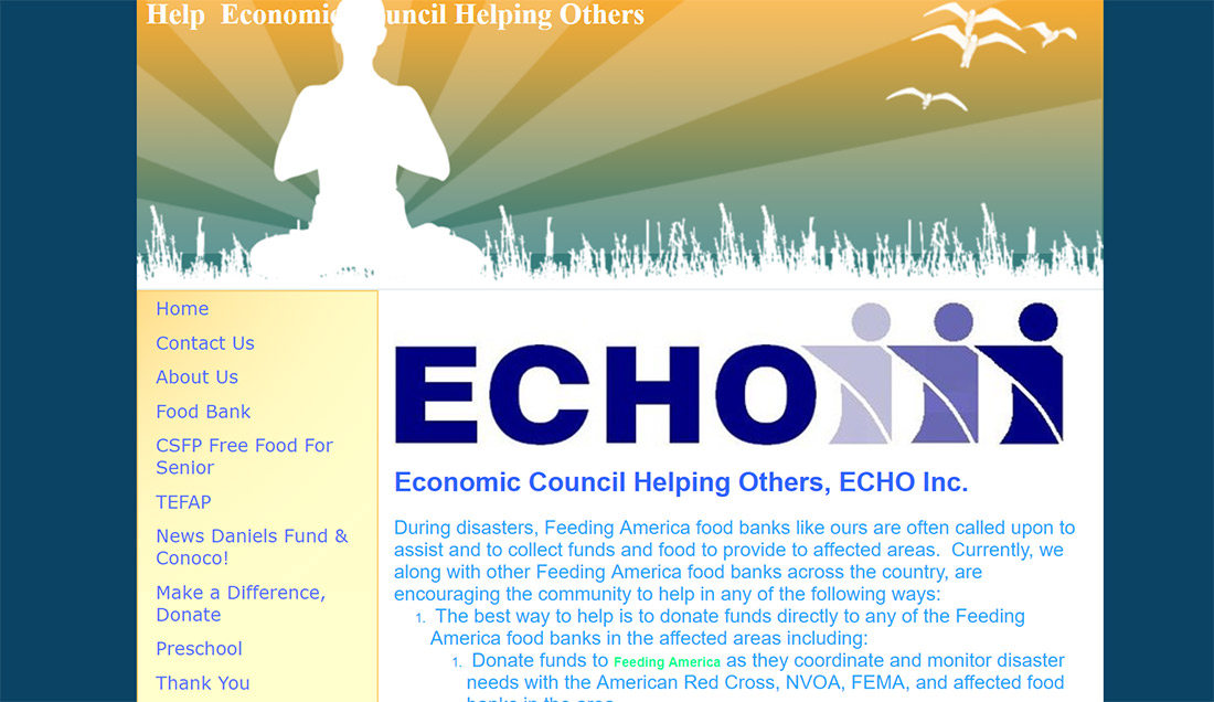 A screenshot of the old website